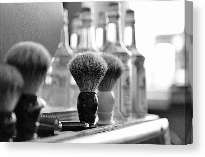 Office Canvas Print featuring the photograph Shaving Brushes At Barbershop by Lorado