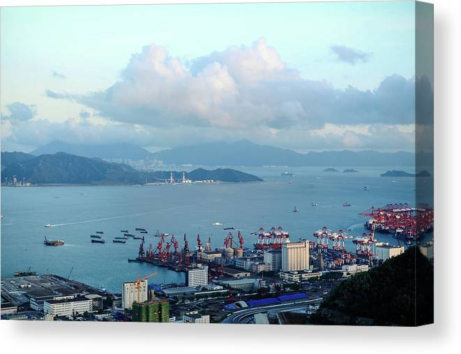 Tranquility Canvas Print featuring the photograph Shenzhen Bay And Shekou Port by Wilson.lau