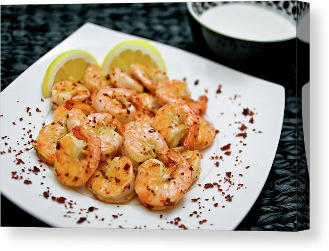 Savory Food Canvas Print featuring the photograph Shrimps With Chili by Wojciech Wisniewski