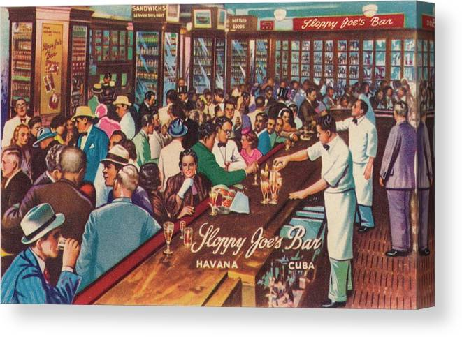 People Canvas Print featuring the photograph Sloppy Joes Bar, Havana, Cuba, 1951 by Print Collector