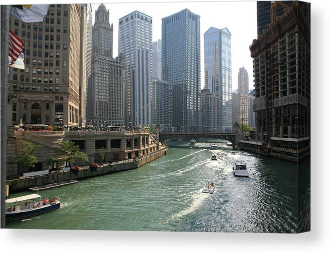 Downtown District Canvas Print featuring the photograph Spectacular Chicago Downtown by Ekash