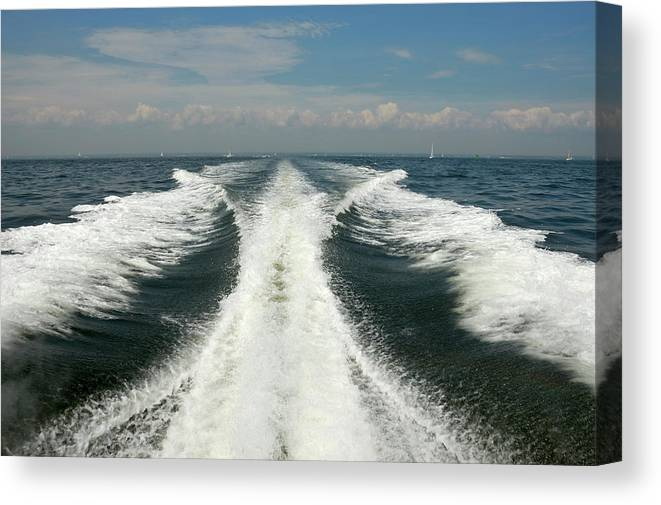 Scenics Canvas Print featuring the photograph Speed Boat Wake by Ishootphotosllc