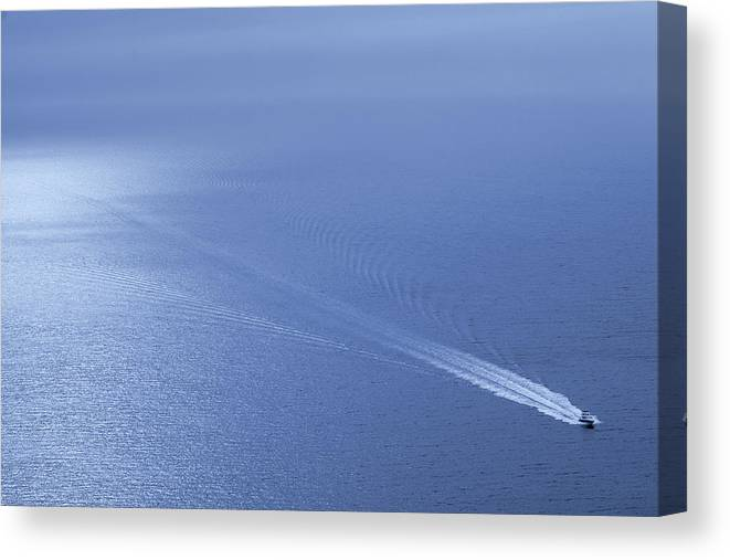 Scenics Canvas Print featuring the photograph Speedboat On The Sea by Nikada