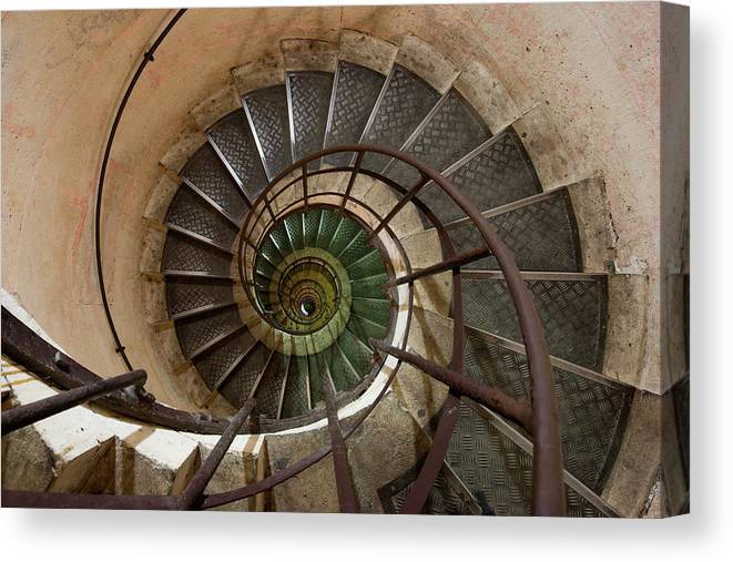 Built Structure Canvas Print featuring the photograph Spiral Staircase In The Arc De by Mint Images/ Art Wolfe
