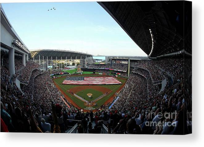 Viewpoint Canvas Print featuring the photograph St Louis Cardinals V Miami Marlins by Sarah Crabill