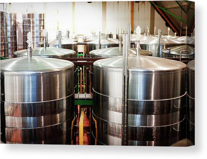 Working Canvas Print featuring the photograph Stainless Steel Holding Tanks In A by Rapideye