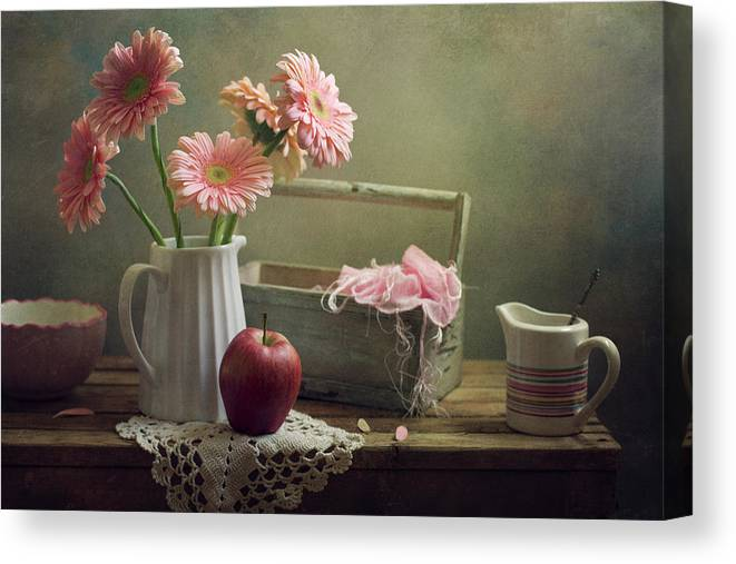 Spoon Canvas Print featuring the photograph Still Life With Pink Gerberas And Red by Copyright Anna Nemoy(xaomena)