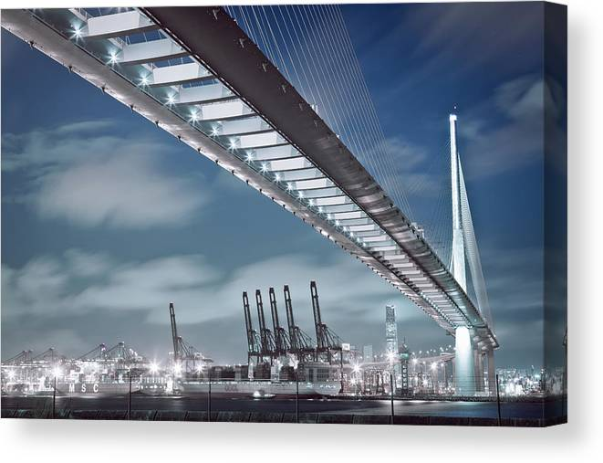 Built Structure Canvas Print featuring the photograph Stonecutters And Container Terminal by Andi Andreas