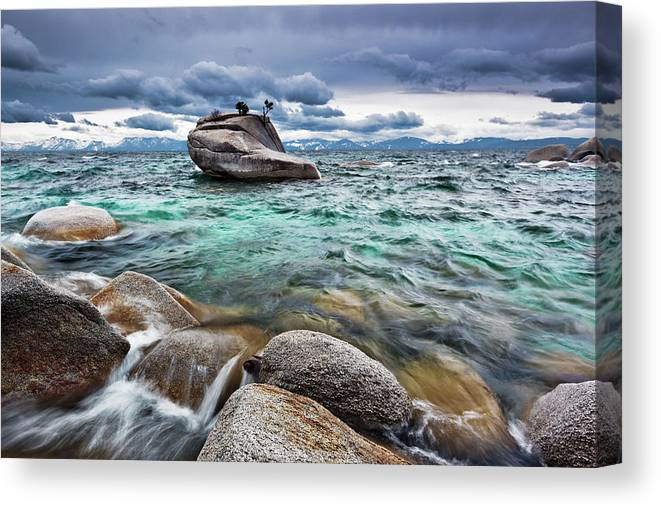Outdoors Canvas Print featuring the photograph Storm, Lake Tahoe by Ropelato Photography; Earthscapes