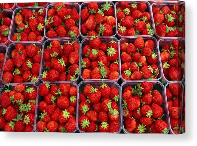 Fruit Carton Canvas Print featuring the photograph Strawberries For Sale, Bergen, Norway by Anders Blomqvist