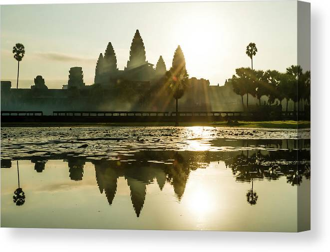 Tranquility Canvas Print featuring the photograph Sunrise At Angkor Wat by Matt Davies Noseyfly@yahoo.com