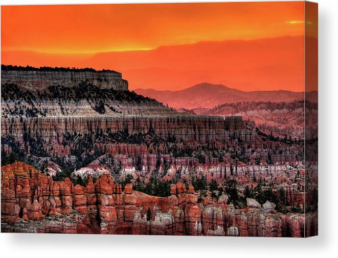 Scenics Canvas Print featuring the photograph Sunrise At Bryce Canyon by Photography Aubrey Stoll