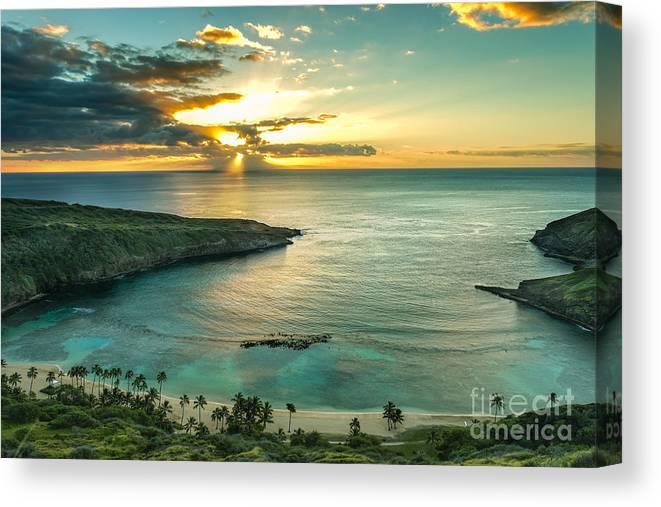Sunrise Canvas Print featuring the photograph Sunrise Over Hanauma Bay On Oahu Hawaii by Leigh Anne Meeks