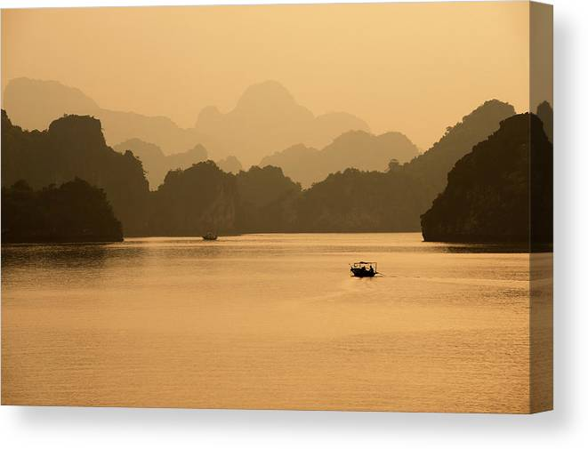 Halong Bay Canvas Print featuring the photograph Sunset, Halong Bay, Vietnam by Yellow Dog Productions