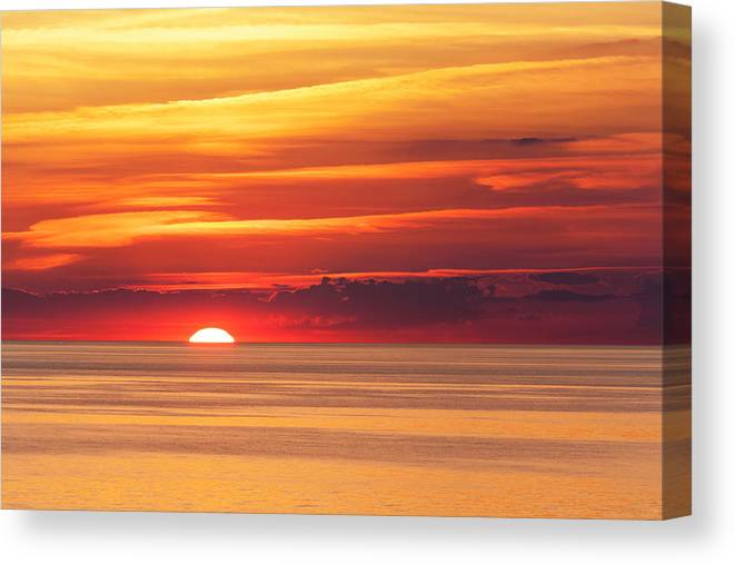 Scenics Canvas Print featuring the photograph Sunset Over Lake Erie by Dszc