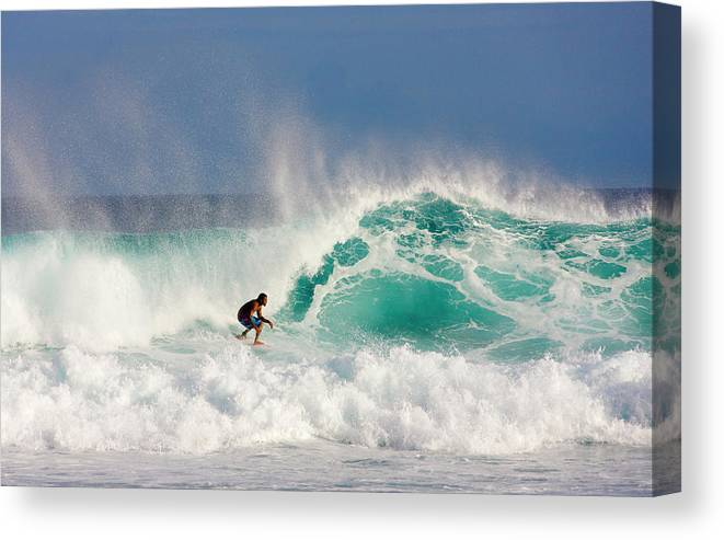 Spray Canvas Print featuring the photograph Surfer On Waves, Maldives by Keren Su