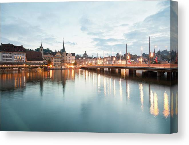 Dawn Canvas Print featuring the photograph Switzerland, Lucerne, View Of by Westend61