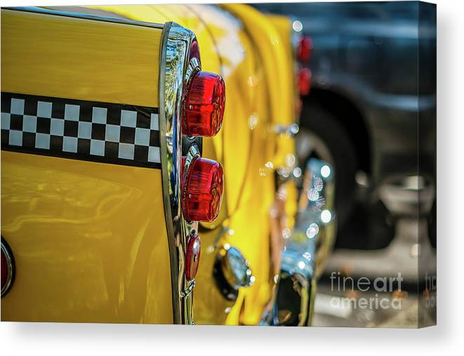Outdoors Canvas Print featuring the photograph Taxi Tail Light, New York City, New by Kai Sarton