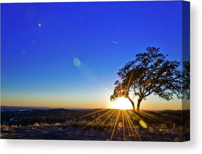 Scenics Canvas Print featuring the photograph Texas Hill Country At Sunset by Bullcreekstudio.com