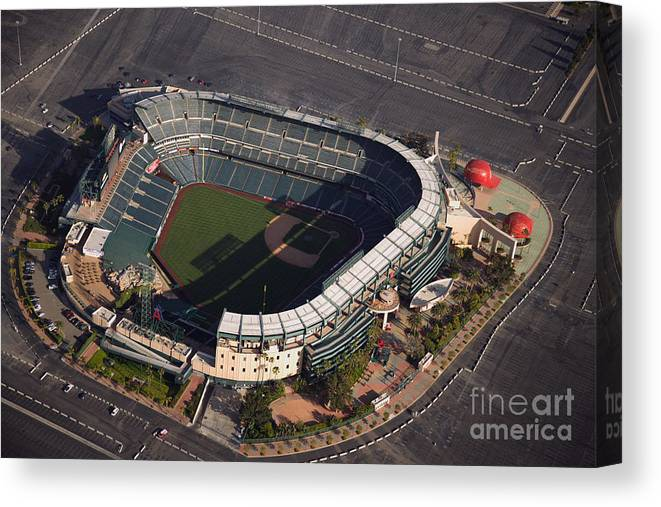 American League Baseball Canvas Print featuring the photograph Texas Rangers V Los Angeles Angels Of by Mlb Photos