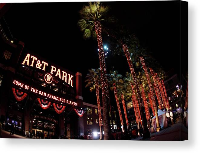 Game Two Canvas Print featuring the photograph Texas Rangers V San Francisco Giants by Christian Petersen