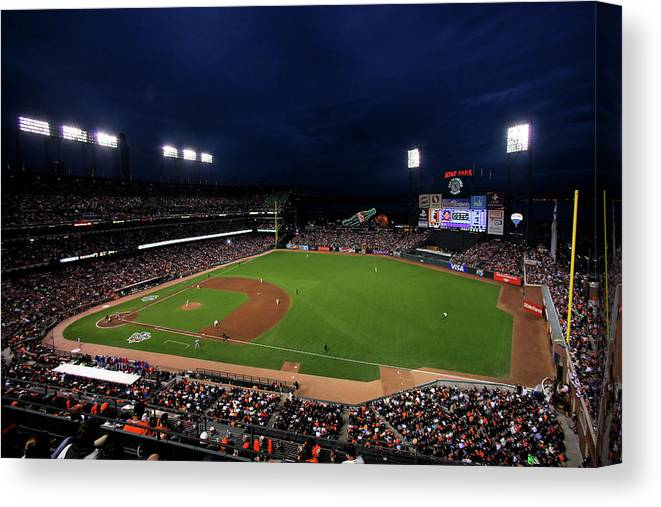 American League Baseball Canvas Print featuring the photograph Texas Rangers V San Francisco Giants by Doug Pensinger