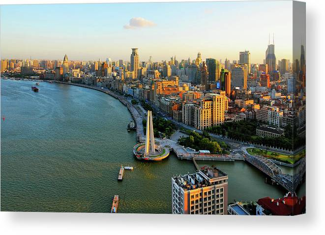 The Bund Canvas Print featuring the photograph The Bund Sunset by Wei Fang