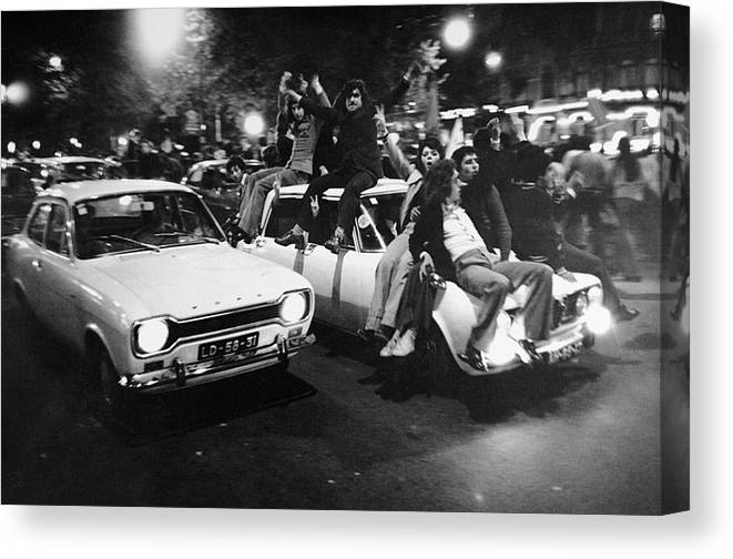 The End Canvas Print featuring the photograph The Carnation Revolution In Lisbon by Herve Gloaguen