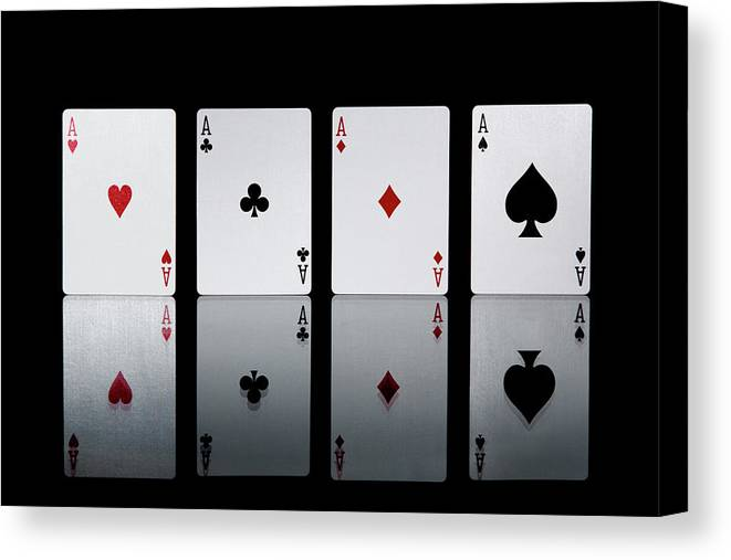 Risk Canvas Print featuring the photograph The Four Aces From A Pack Of Playing by Sasha Weleber