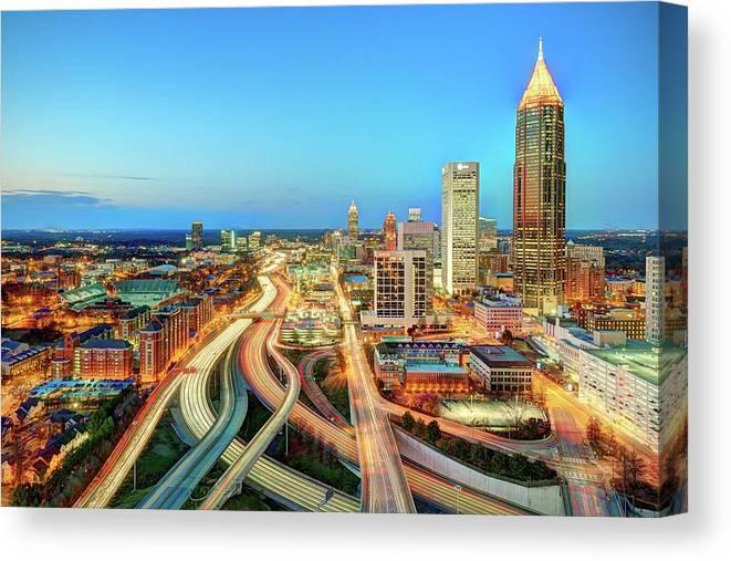 Atlanta Canvas Print featuring the photograph The Lifeblood Of Atlanta by Photography By Steve Kelley Aka Mudpig
