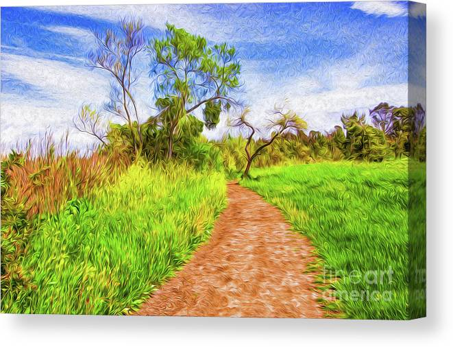 Colorful Canvas Print featuring the digital art The Path that Lies Ahead II by Kenneth Montgomery