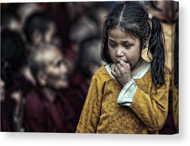 Portrait Canvas Print featuring the photograph The Song Of The Monks by Piet Flour