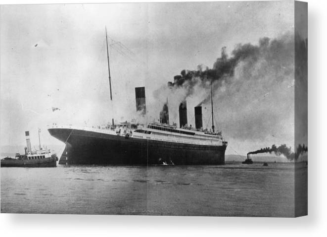 1910-1919 Canvas Print featuring the photograph The Titanic by Topical Press Agency