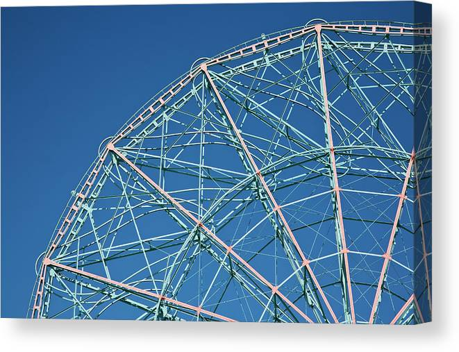 Built Structure Canvas Print featuring the photograph The Top Of A Ferris Wheel, Low Angle by Frederick Bass