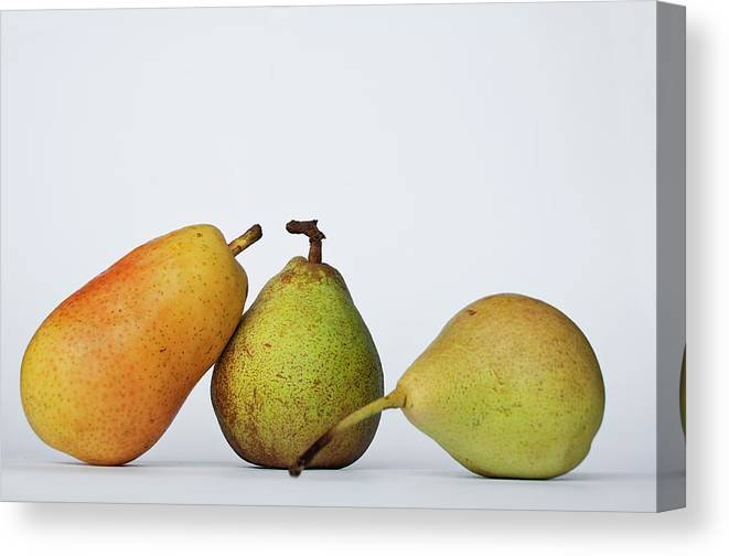 Healthy Eating Canvas Print featuring the photograph Three Diferent Pears Isolated On Grey by Irantzu Arbaizagoitia Photography