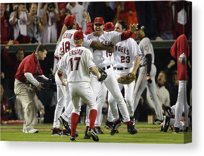 Alex Ochoa Canvas Print featuring the photograph Tim Salmon, Darin Erstad And Alex Ochoa by Jeff Gross