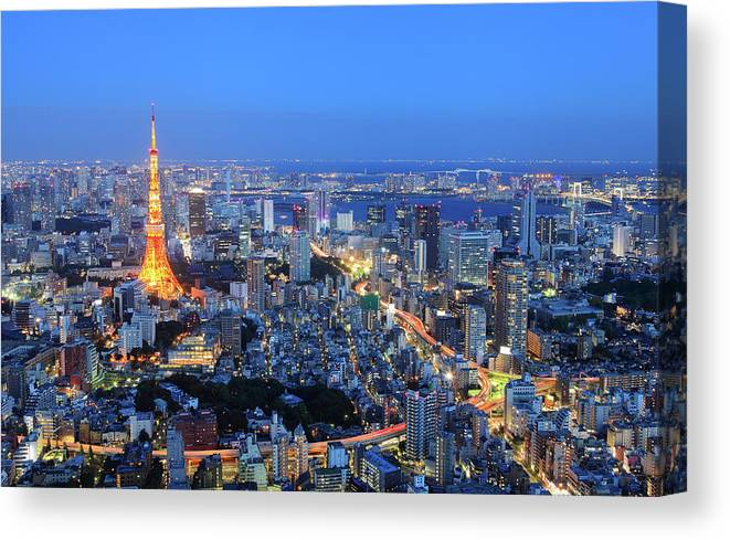 Tokyo Tower Canvas Print featuring the photograph Tokyo Tower View From Mori Tower by Krzysztof Baranowski