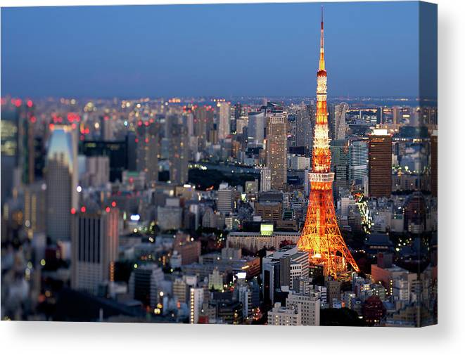 Tokyo Tower Canvas Print featuring the photograph Tokyo Tower by Vladimir Zakharov