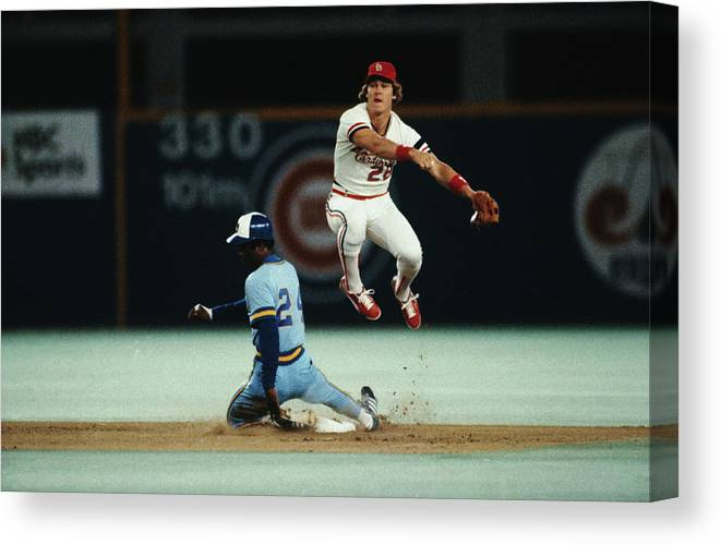 St. Louis Cardinals Canvas Print featuring the photograph Tommy Herr Making Double Play by Bettmann