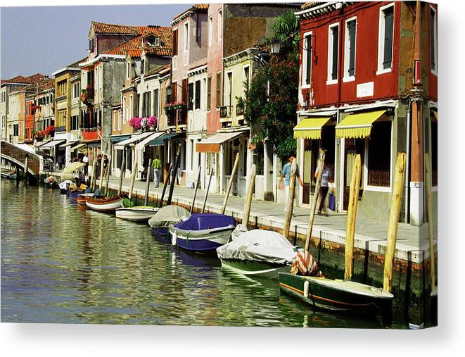 Row House Canvas Print featuring the photograph Tourists Along A Canal, Murano, Venice by Medioimages/photodisc