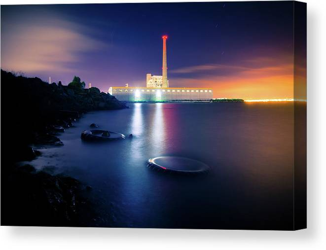 Industrial District Canvas Print featuring the photograph Toxic Beach With Power Plant by Hal Bergman
