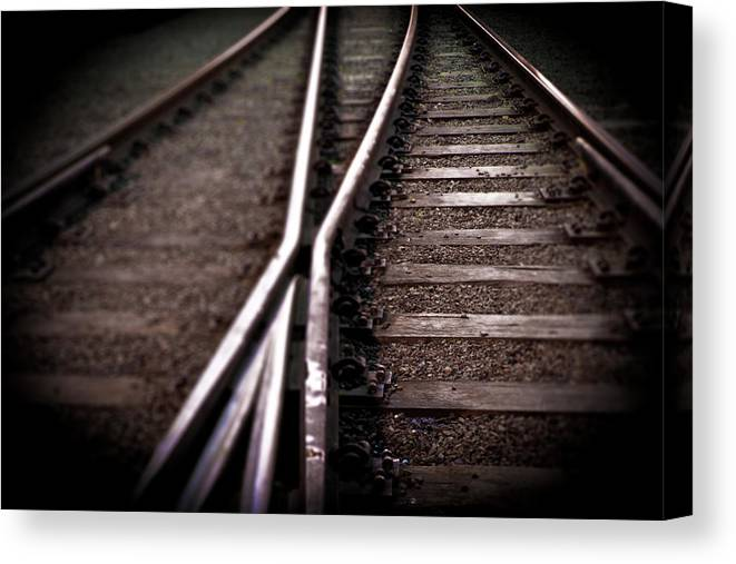 Freight Transportation Canvas Print featuring the photograph Train Line Crossing by Mikulas1