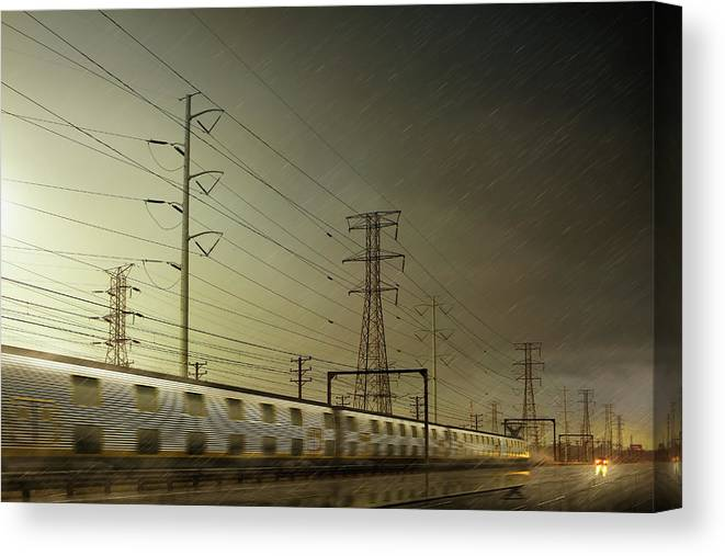 Train Canvas Print featuring the digital art Train Speeding By Power Lines by Chris Clor
