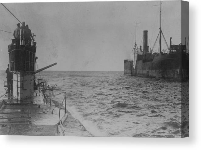 Container Ship Canvas Print featuring the photograph U-boat Attack by Hulton Archive