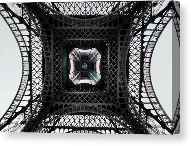 Eiffel Tower Canvas Print featuring the photograph Underneath Of Eiffel Tower, Low Angle by Ed Freeman