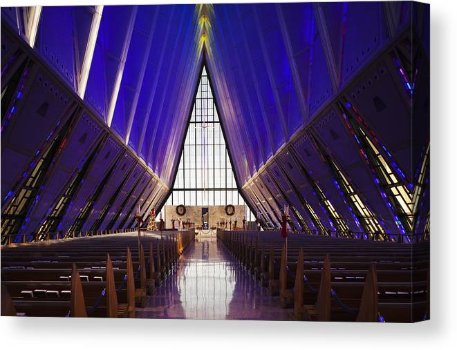 Large Group Of Objects Canvas Print featuring the photograph U.s. Air Force Academy, Cadets Chapel by Walter Bibikow