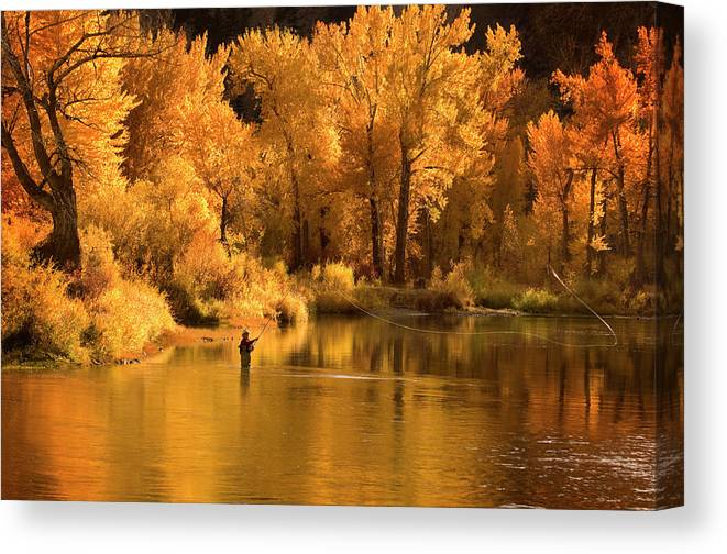 Orange Color Canvas Print featuring the photograph Usa, Idaho, Salmon River, Mature Man by Steve Bly