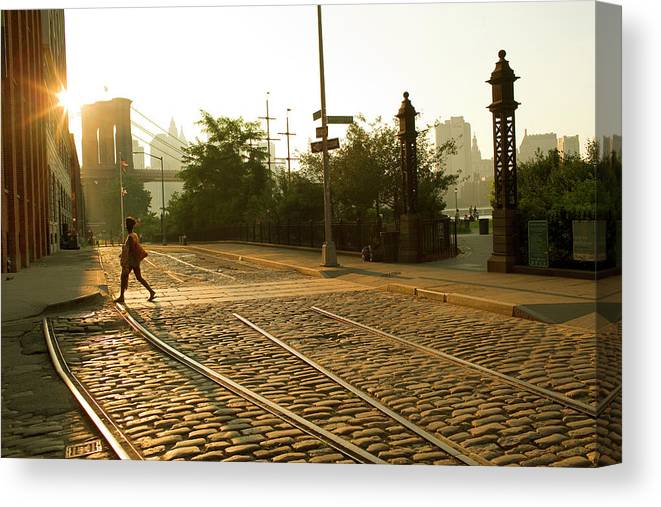 Pedestrian Canvas Print featuring the photograph Usa, New York, Brooklyn, Woman Crossing by Maremagnum