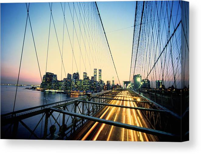 Twin Towers Canvas Print featuring the photograph Usa, New York City, Manhattan, View by Paul Radenfeld