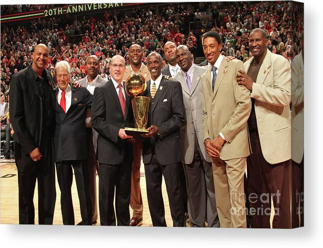 Event Canvas Print featuring the photograph Utah Jazz V Chicago Bulls by Ray Amati